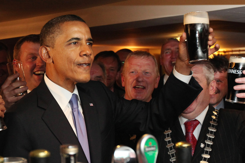 US President Barack Obama Downs A Pint